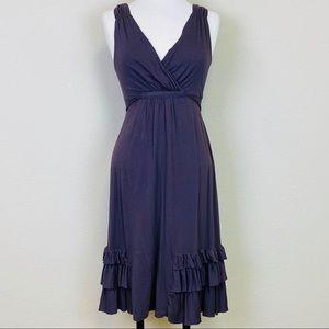SUNDANCE Jersey Knit Ruffled Dress Muted Eggplant